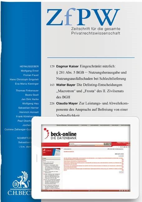 ZfPW • Zeitschrift für die gesamte Privatrechtswissenschaft | 4. Jahrgang (Cover)