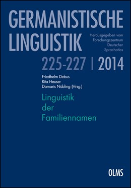 Abbildung von Debus / Nübling | Linguistik der Familiennamen | 1. Auflage | 2014 | 225-227/2014 | beck-shop.de