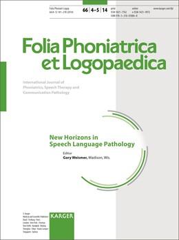 Abbildung von Weismer | New Horizons in Speech Language Pathology | 2015 | Special Topic Issue: Folia Pho...