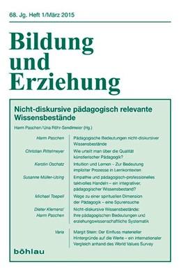 Abbildung von Paschen / Röhr-Sendlmeier   Pädagogische Bedeutung nicht-diskursiver Wissensbestände   1. Auflage   2015   68,1   beck-shop.de