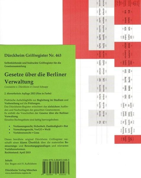 Dürckheim-Register - Gesetze über die Berliner Verwaltung (Trojahn) | v. Dürckheim | 2. Auflage, 2015 (Cover)