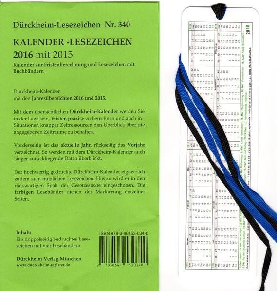 Dürckheim-Register - Kalender 2016 mit 2015, 2014 (Cover)