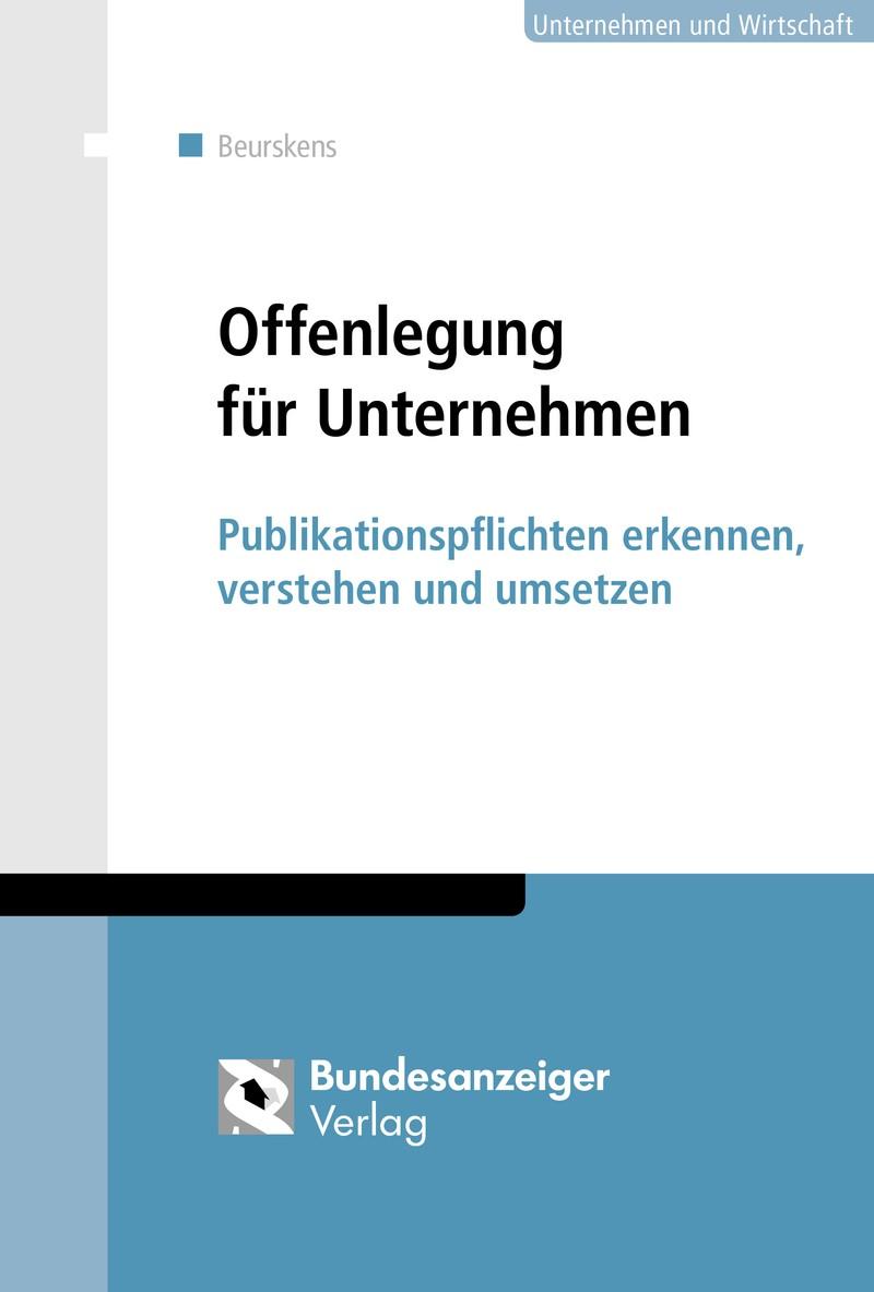 Offenlegung für Unternehmen | Beurskens, 2017 | Buch (Cover)
