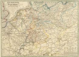 Abbildung von Post-Reise-Karte (Postkutschenstreckenkarte) von Deutschland 1828 (Plano)   Reprint   2002