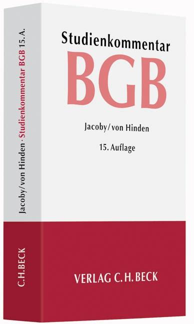 Bürgerliches Gesetzbuch: BGB   Jacoby / von Hinden   Buch (Cover)