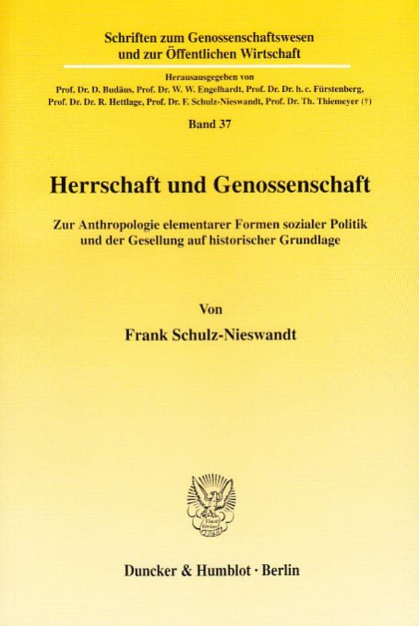 Abbildung von Schulz-Nieswandt   Herrschaft und Genossenschaft.   2003