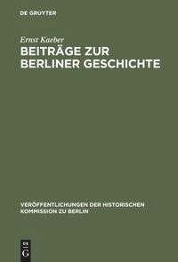 Beiträge zur Berliner Geschichte | Kaeber, 1964 | Buch (Cover)