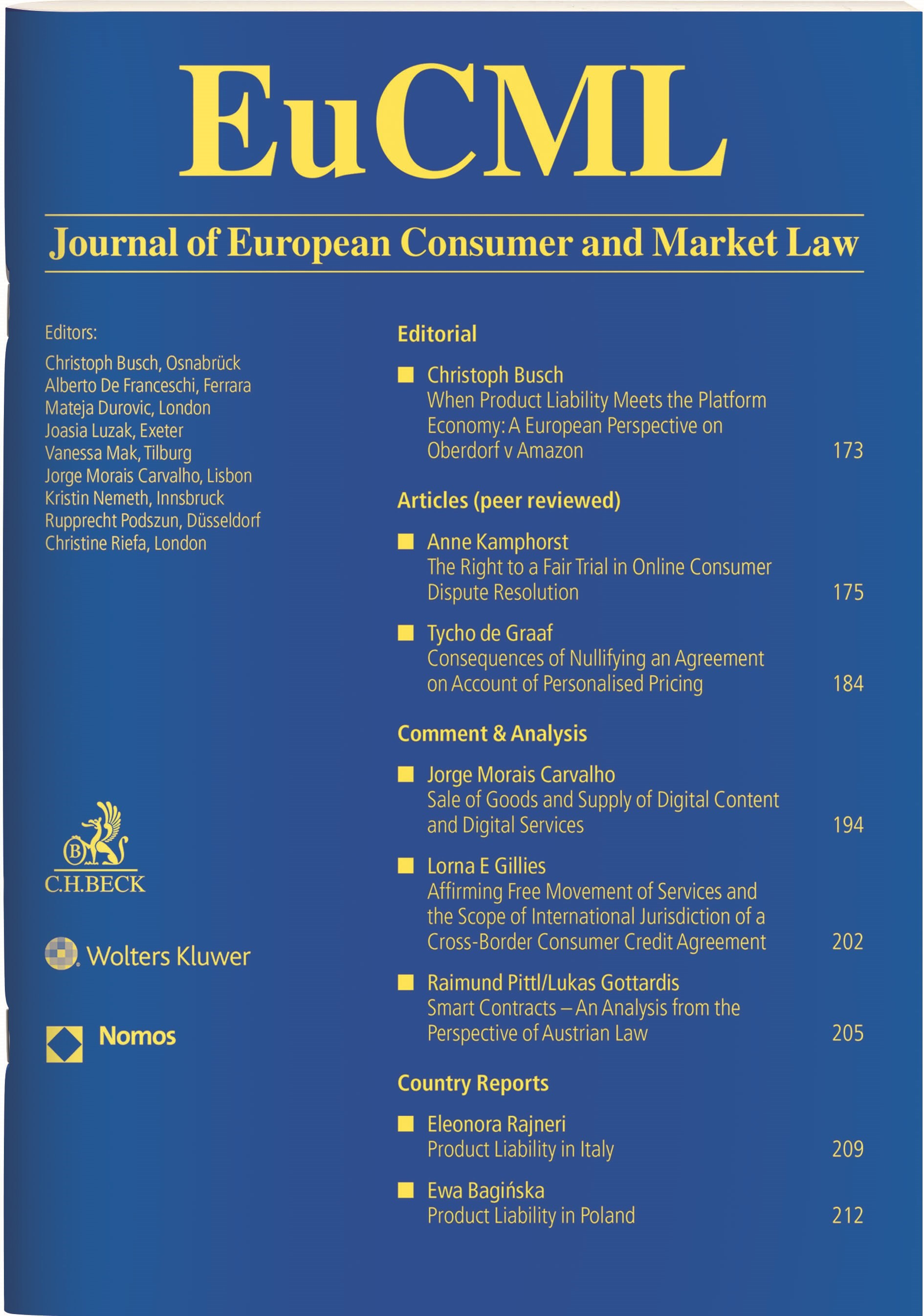 EuCML • Journal of European Consumer and Market Law (Cover)
