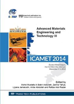 Abbildung von Al Bakri Abdullah / Yahya / Jamaludin / Abdullah / Abd Razak | Advanced Materials Engineering and Technology III | 2015 | Selected, peer reviewed papers... | Volumes 754-755