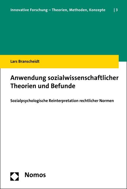 Anwendung sozialwissenschaftlicher Theorien und Befunde | Branscheidt, 2015 | Buch (Cover)