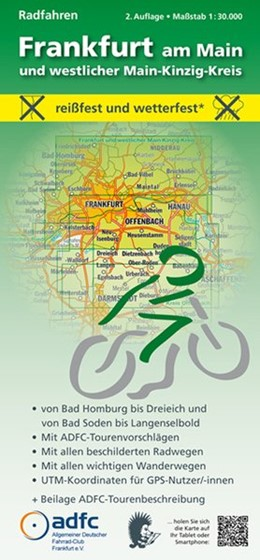 Abbildung von Frankfurt am Main und westlicher Main-Kinzig-Kreis. Radfahren 1 : 30 000 | 2., überarbeitete Auflage | 2015 | Von Bad Homburg bis Dreieich u...