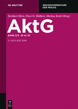 Abbildung von Hirte / Mülbert / Roth (Hrsg.) | Aktiengesetz: AktG, Band 2/2: §§ 41-53 | 5. Auflage | 2016