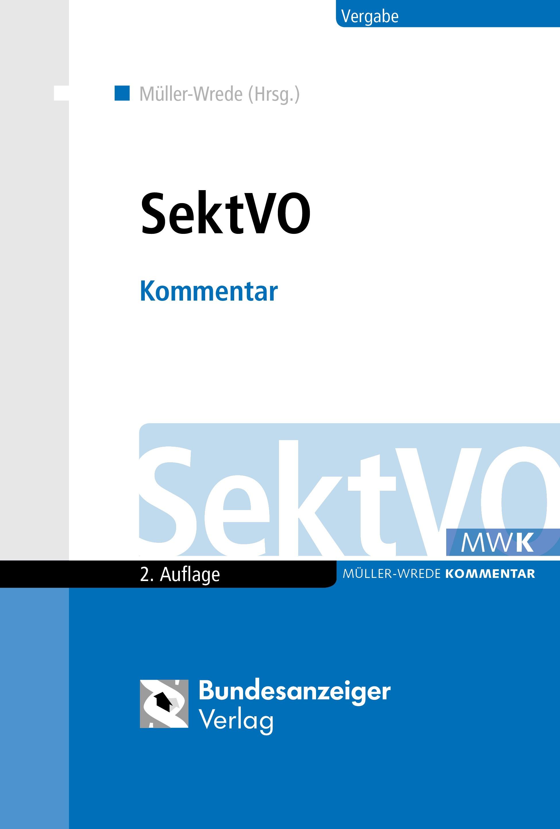 SektVO | Müller-Wrede (Hrsg.) | 2., vollständig überarbeitete Auflage, 2018 | Buch (Cover)