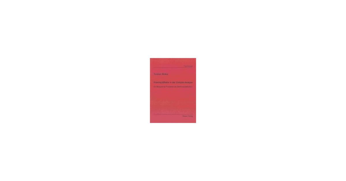 Framing-Effekte in der Conjoint-Analyse   Melles, 2001   Buch   beck ...