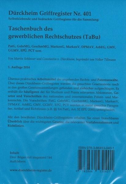 Gewerblicher Rechtschutz, TaBu, Griffregister Nr. 040, 153 bedruckte Aufkleber für das Taschenbuch des Gewerblichen Rchtschutzes | Dürckheim / Schlosser | 1., Aufl., 2014 (Cover)
