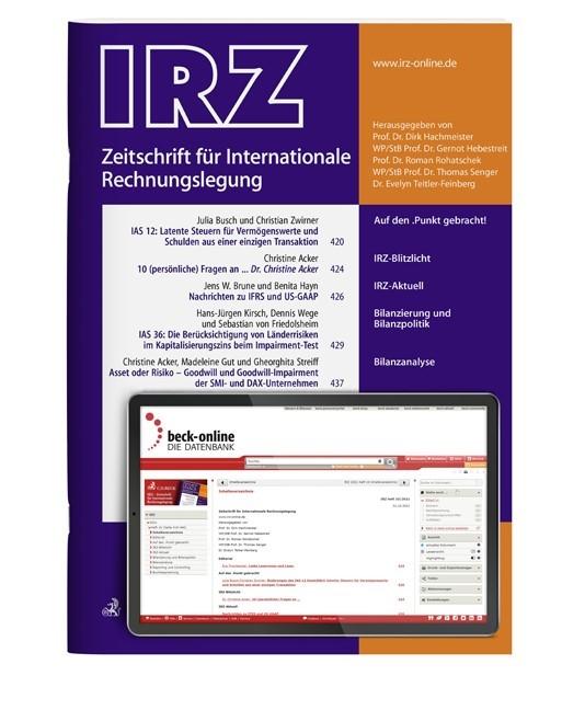 IRZ • Zeitschrift für Internationale Rechnungslegung | 13. Jahrgang (Cover)