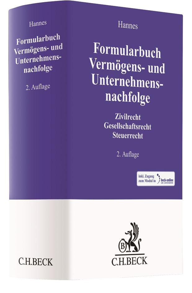 Formularbuch Vermögens- und Unternehmensnachfolge | Hannes | 2. Auflage, 2017 | Buch (Cover)