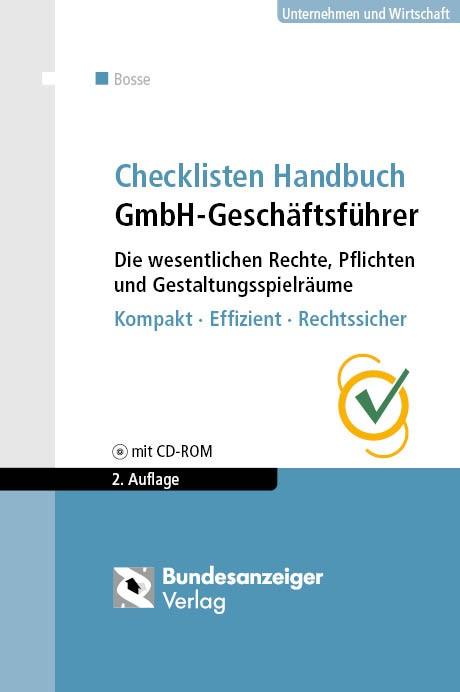 Checklisten Handbuch GmbH-Geschäftsführer | Bosse | 2., aktualisierte Auflage, 2016 | Buch (Cover)