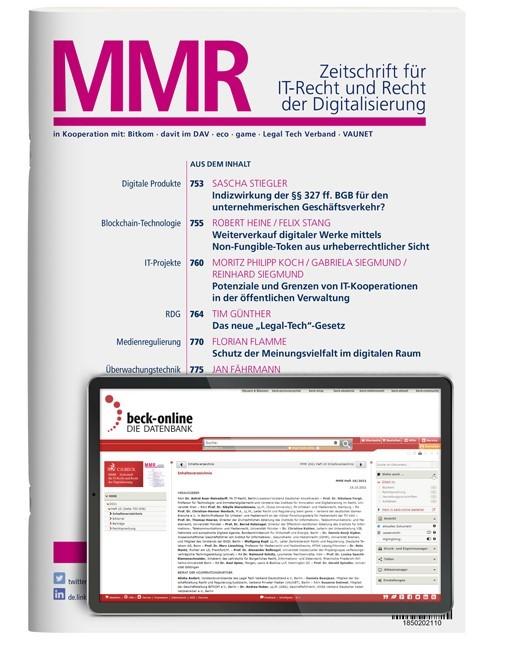 Abbildung von MMR • MultiMedia und Recht | 22. Jahrgang | 2019