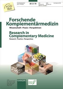 Abbildung von Melchart   Acupuncture - New Developments and Insights into Practice / Akupunktur - neue Entwicklungen und Einblicke in die Praxis   2015   Special Topic Issue: Forschend...