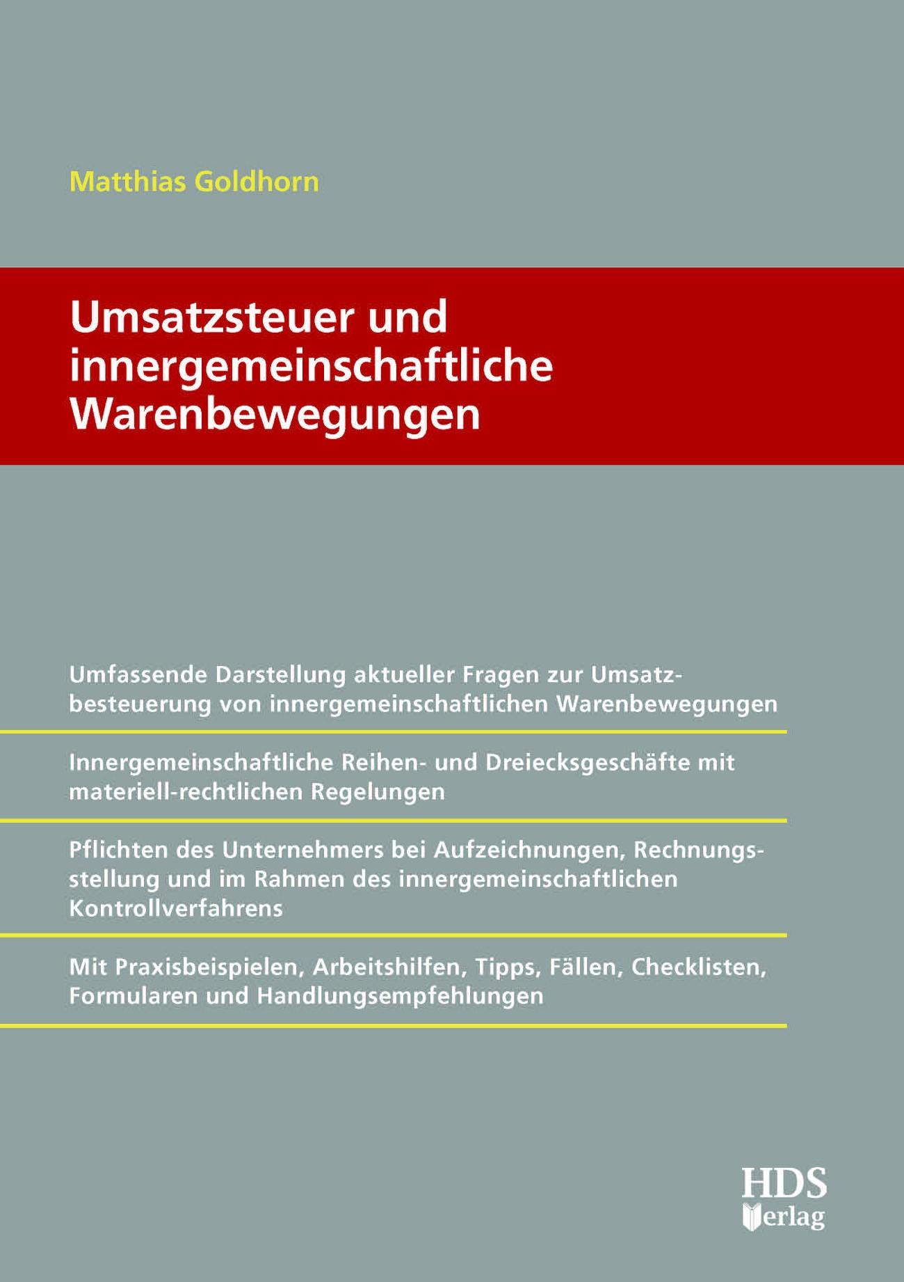 Umsatzsteuer und innergemeinschaftliche Warenbewegungen | Goldhorn, 2017 | Buch (Cover)