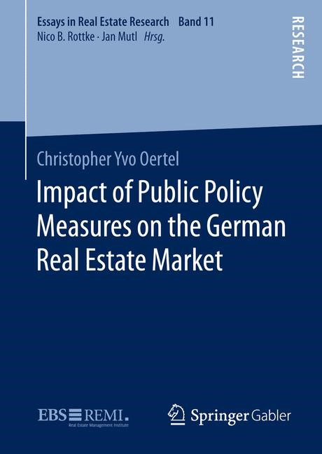 Impact of Public Policy Measures on the German Real Estate Market | Oertel | 1st ed. 2016, 2015 | Buch (Cover)