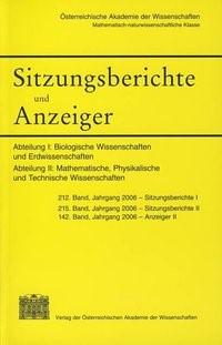 Sitzungsberichte und Anzeiger der mathematisch-naturwissenschaftlichen Klasse | Österreichische Akademie d. Wissenschaften, 2007 | Buch (Cover)