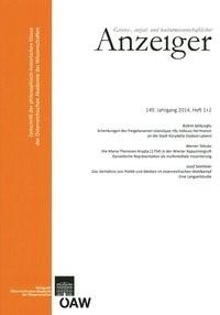 Geistes-, sozial-und kulturwissenschaftlicher Anzeiger 149. Jahrgang, Heft 1+2 2014 | Österreichische Akademie d. Wissenschaften, 2015 | Buch (Cover)