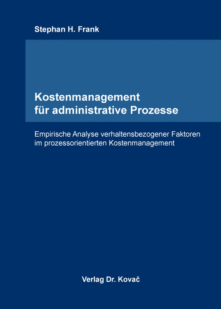 Kostenmanagement für administrative Prozesse   Frank, 2015 (Cover)