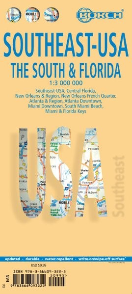 Abbildung von Southeast-USA The South and Florida 1 : 3 000 000. Road Map + City Maps | 14. Auflage | 2015