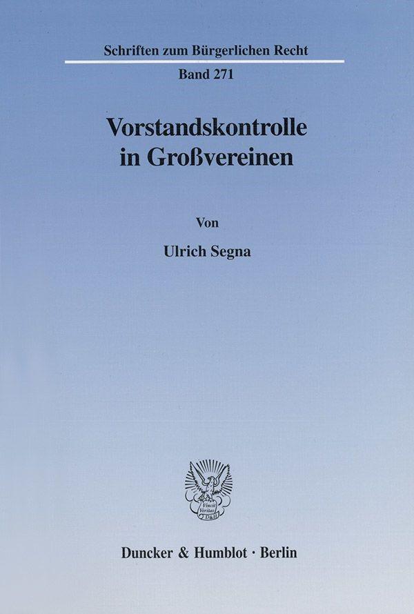 Abbildung von Segna   Vorstandskontrolle in Großvereinen.   2002
