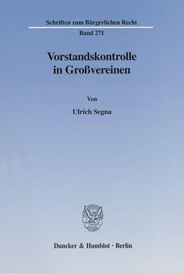 Abbildung von Segna   Vorstandskontrolle in Großvereinen.   2002   271
