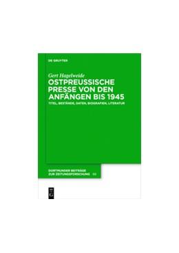 Abbildung von Hagelweide | Ostpreußische Presse von den Anfängen bis 1945 | 1. Auflage | 2016 | 68 | beck-shop.de