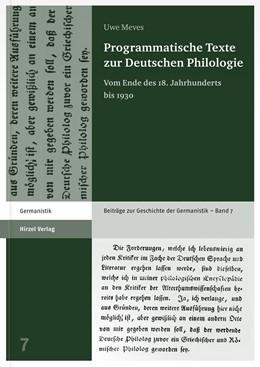 Abbildung von Meves   Programmatische Texte zur Deutschen Philologie   1. Auflage   2015   beck-shop.de