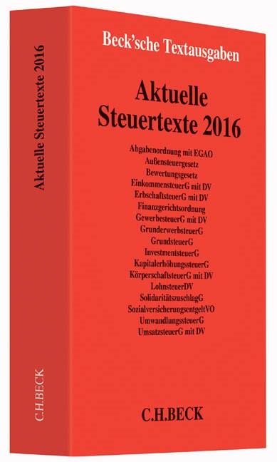 Aktuelle Steuertexte 2016 | Buch (Cover)
