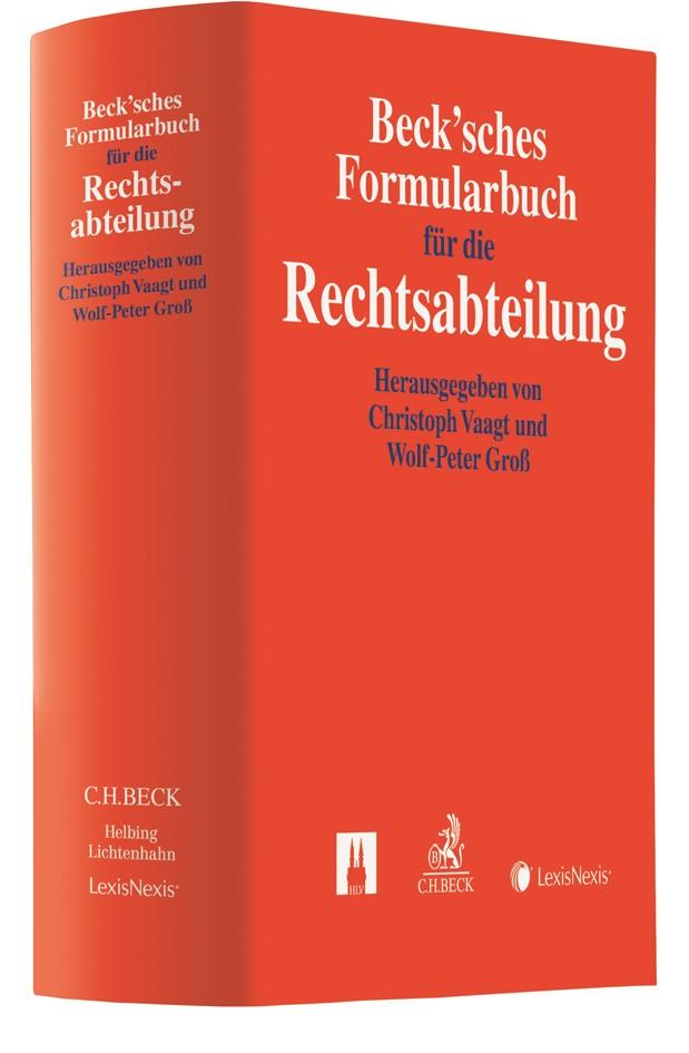 Beck'sches Formularbuch für die Rechtsabteilung, 2017 | Buch (Cover)