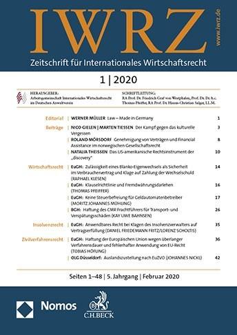 Abbildung von IWRZ • Zeitschrift für Internationales Wirtschaftsrecht | 4. Jahrgang | 2019