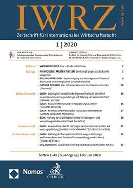 Abbildung von IWRZ • Zeitschrift für Internationales Wirtschaftsrecht | 3. Auflage | 2020 | beck-shop.de
