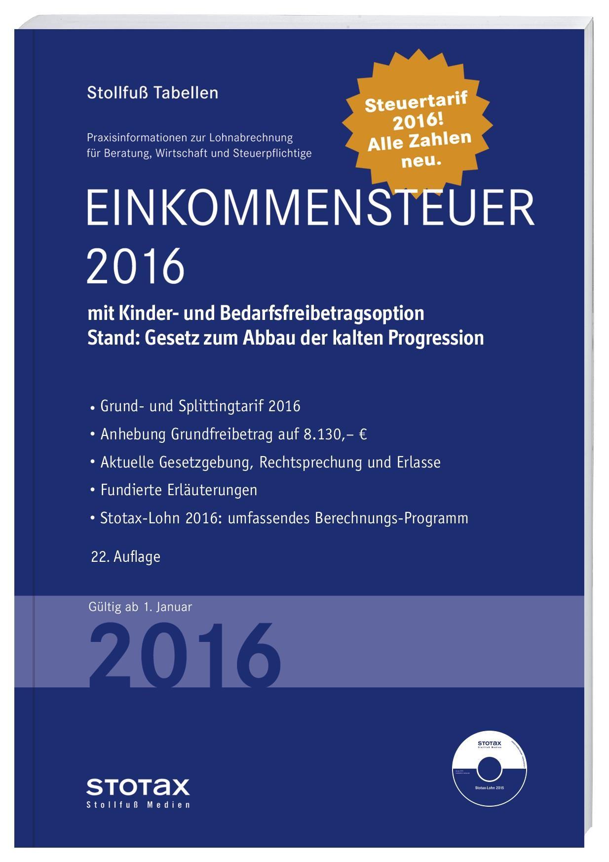 Tabelle, Einkommensteuer 2016 (Cover)