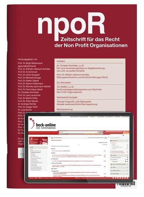 Abbildung von npoR • Zeitschrift für das Recht der Non Profit Organisationen   11. Jahrgang   2019