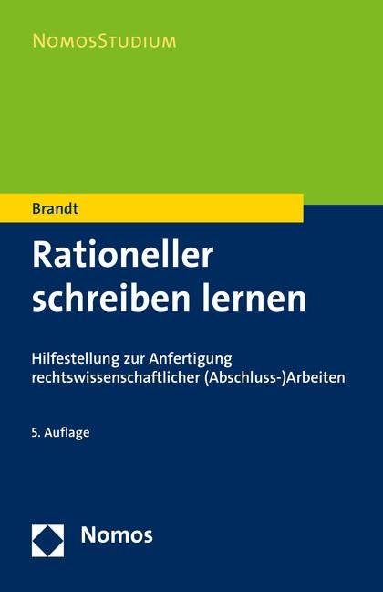 Rationeller schreiben lernen | Brandt | 5. Auflage, 2016 | Buch (Cover)