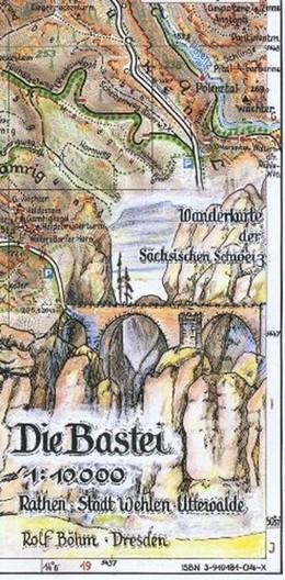Abbildung von Böhm | Die Bastei 1 : 10 000 | 7. Auflage | 2015 | Rathen-Stadt Wehlen-Uttewalder...