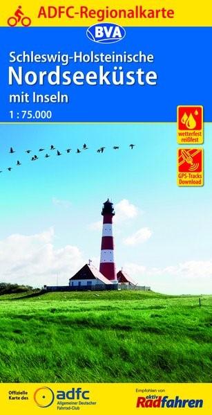 Abbildung von ADFC-Regionalkarte Schleswig-Holsteinische Nordseeküste mit Inseln mit Tagestouren-Vorschlägen 1:75.000 | 5. Auflage | 2016