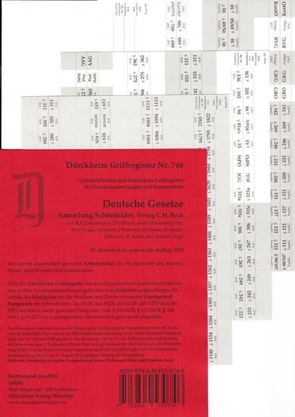 Dürckheim-Register - Deutsche Gesetze (Schönfelder) | v. Dürckheim | 18., überarbeitete Auflage, 2016 (Cover)