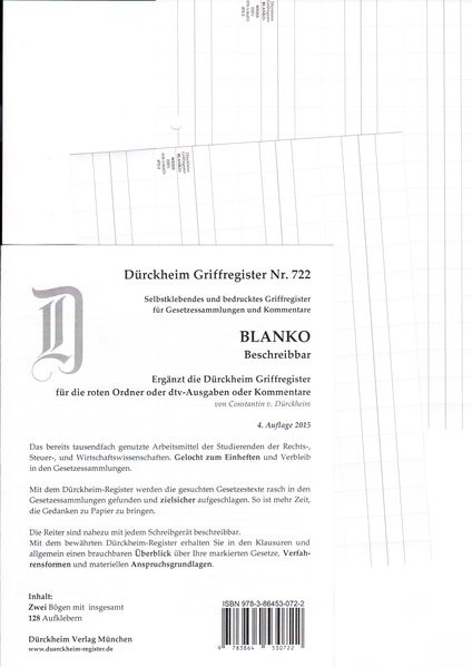 Dürckheim-Register - BLANKO | v. Dürckheim | 4. Auflage, 2015 (Cover)