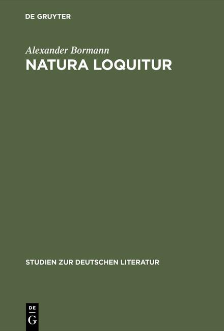 Natura loquitur | Bormann | Reprint 2015, 1968 | Buch (Cover)