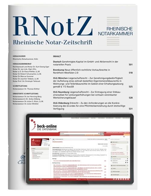 RNotZ • Rheinische Notar-Zeitschrift | 164. Jahrgang, 2016 (Cover)