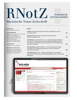 Abbildung von RNotZ • Rheinische Notar-Zeitschrift | 164. Jahrgang | 2019