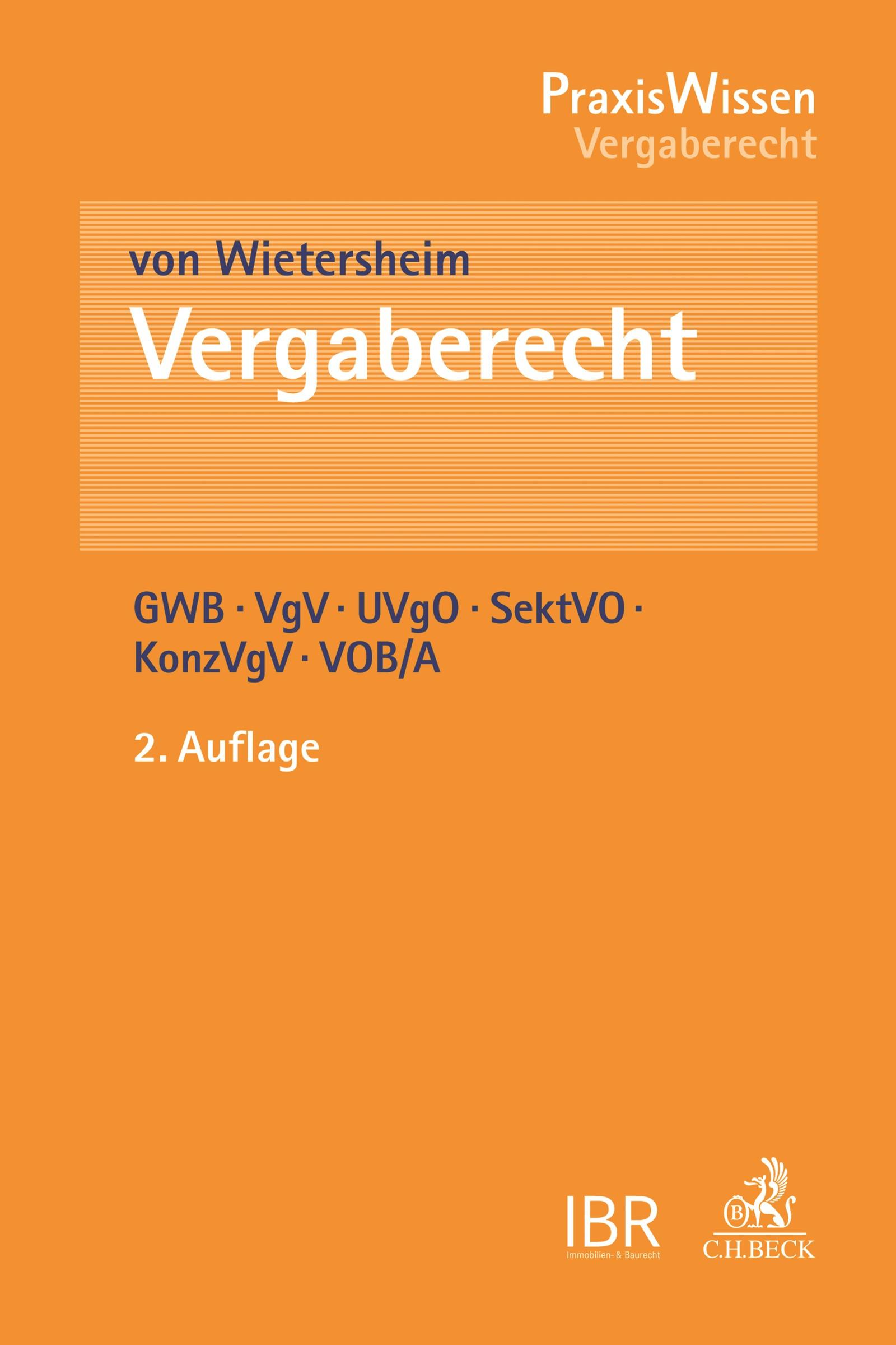 Vergaberecht | von Wietersheim | 2. Auflage, 2017 | Buch (Cover)