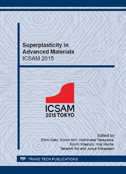 Abbildung von Sato / Itoh / Takayama / Kitazono / Morita / Itoi / Kobayashi | Superplasticity in Advanced Materials - ICSAM 2015 | 2016 | Collection of Selected, Peer R... | Volumes 838-839